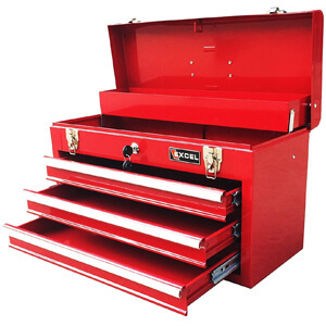 Excel TB133-Red 20.5-Inch Portable Steel Tool Box