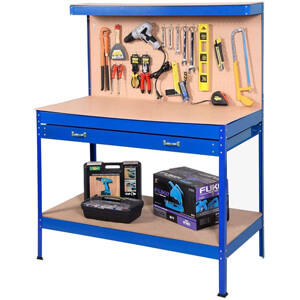 Goplus Steel Workbench Tool Storage Work Bench